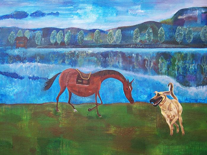 Dudu teasing a horse.jpg