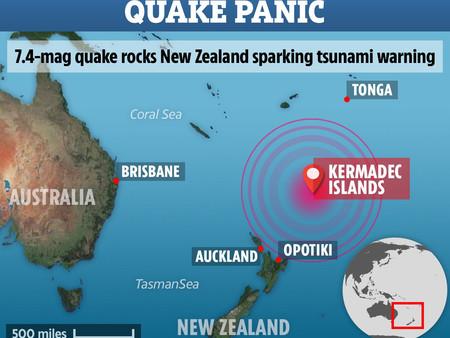 뉴질랜드 북동쪽, 7.4 지진발생...쓰나미 위험 없음