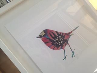 Hand stencilled Flox Robin