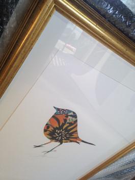 Flox hand stencilled Robin
