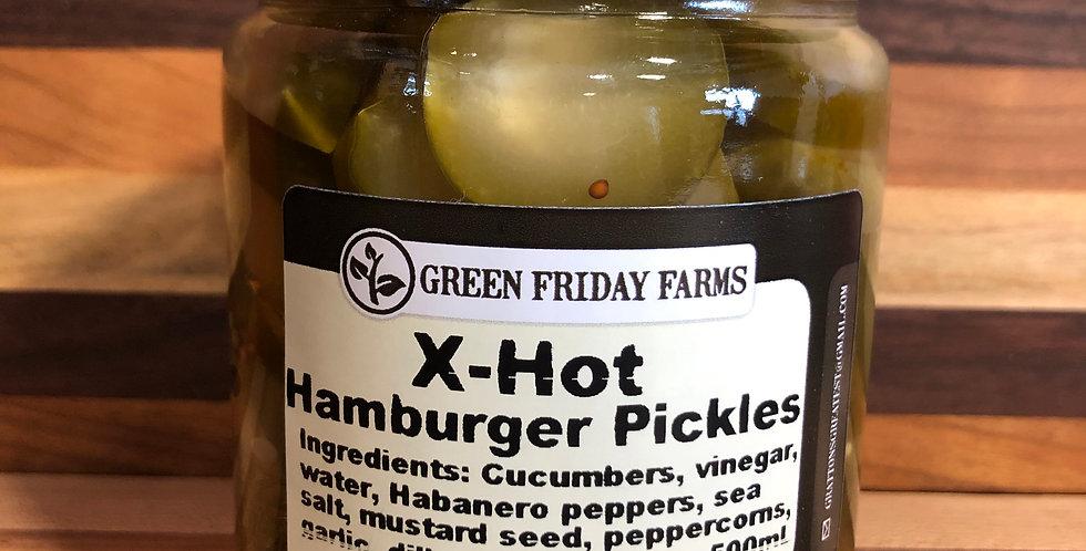 Green Friday Farms Hamburger Pickles, X-Hot(500ml)