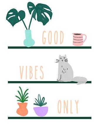 katie byrne bookshelf plants cat illustration