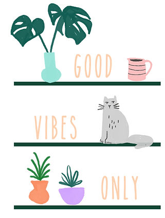 katie byrne bookshelf plants cat illustration