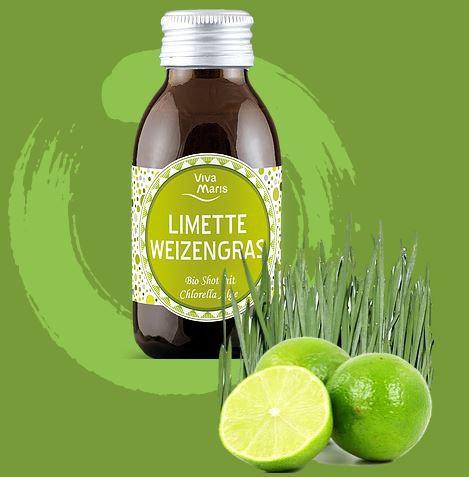 Viva Maris Bio Shot Limette Weizengras mit Chlorella Alge, 12x100ml, vegan, Bio