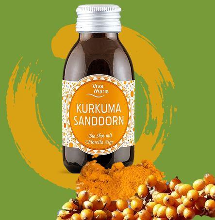 Viva Maris Bio Shot Kurkuma Sanddorn mit Chlorella Alge, 12x100 ml, vegan, Bio