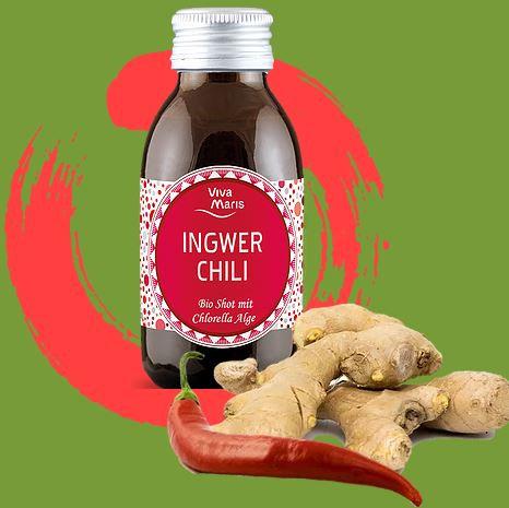 Viva Maris Bio Shot Ingwer Chili mit Chlorella Alge, 12x100 ml, vegan, Bio