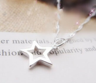 Hollow Star Pendant Necklace 925 Sterling Silver