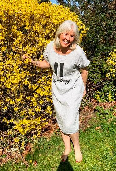 Friday Slogan Linen Lagenlook Dress