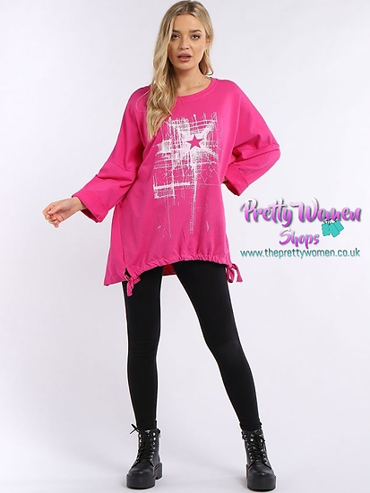 Oversized Made In Italy Star Drawstring Lagenlook Tunic - Hot Pink
