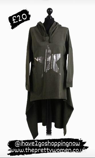 Khaki Glossy Star Print Cotton Hooded Tunic