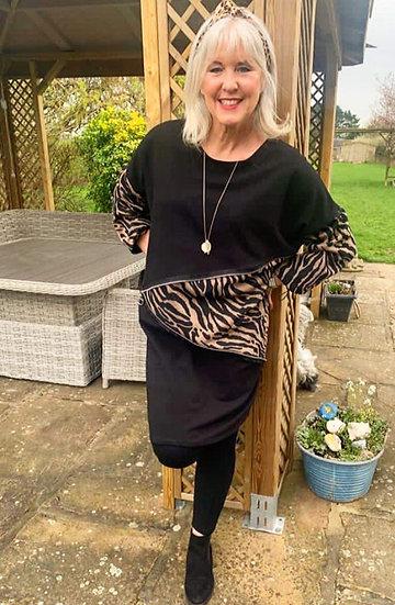 Mocha Tiger Print Zip Cotton Lagenlook Dress