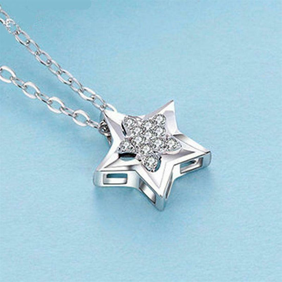 Star Crystal Pendant Necklace 925 Sterling Silver