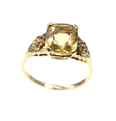 Vintage 9ct gold citrine set ring