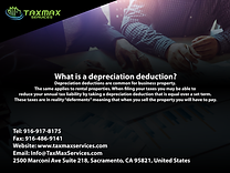 tax services sacramento | taxmax services | What is a depreciation deduction?