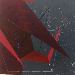 迪斯卡佛里14號木板、壓克力、鉛筆、炭精筆 30cm X 30cm X 3cm.