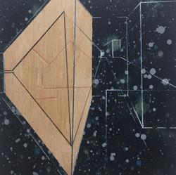 迪斯卡佛里1號木板、壓克力、鉛筆、炭精筆 20cm X 20cm X 3cm