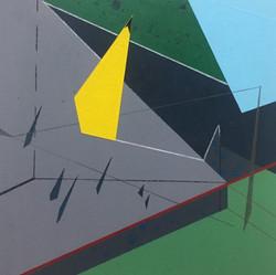 迪斯卡佛里5號木板、壓克力、鉛筆、炭精筆 20cm X 20cm X 3cm