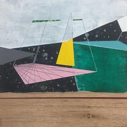 迪斯卡佛里2號木板、壓克力、鉛筆、炭精筆 20cm X 20cm X 3cm