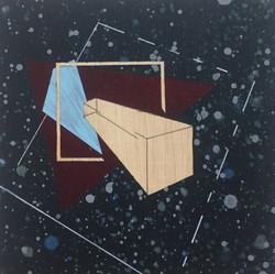 迪斯卡佛里7號木板、壓克力、鉛筆、炭精筆 20cm X 20cm X 3cm