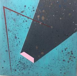 迪斯卡佛里12號木板、壓克力、鉛筆、炭精筆 30cm X 30cm X 3cm.