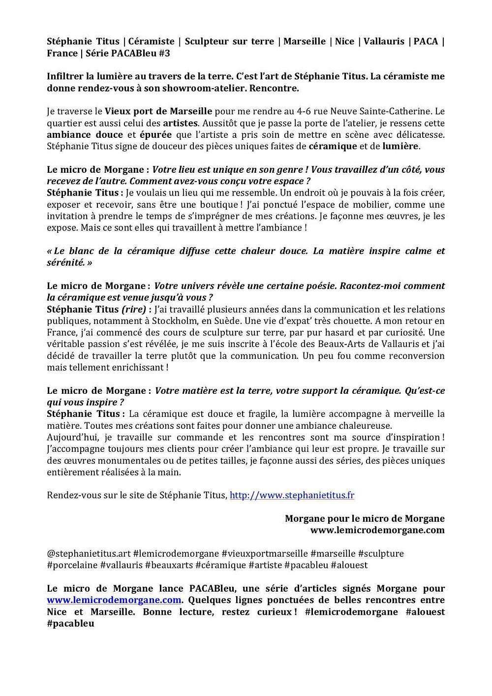 Stéphanie Titus |le micro de Morgane |Céramique |design |Marseille |Nice |France