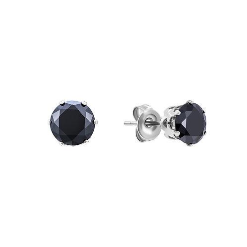 Серьги-гвоздики с черными минералами