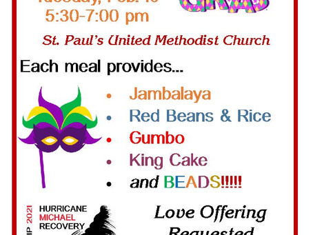 Mardi Gras Dinner, Feb 16 Take Out Curbside Service ONLY