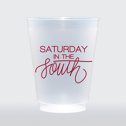 Saturday In The South - Red | Set of 8 16 oz Frosted Shatt