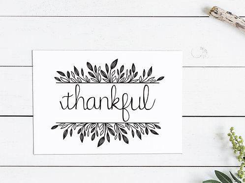 Thanksgiving Thankful Card - Black Leaves