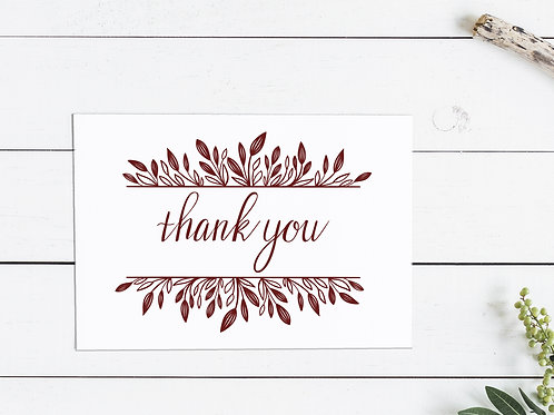 Thanksgiving Thank You Card - Maroon Leaves