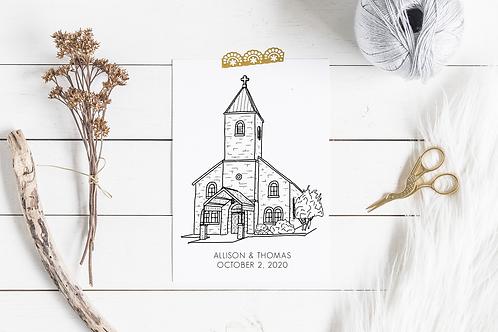 Custom Venue Digital Illustration Print | Church, Wedding Reception