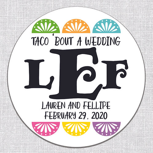 Taco 'Bout A Wedding Monogram Stickers (Set of 50)