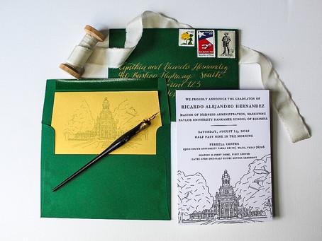 Baylor University Letterpress Graduation Invitations