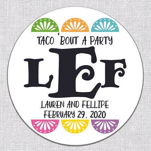 Taco 'Bout A Party Wedding Monogram Stickers (Set of 50)
