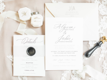 Alycia and John's Modern Texas Hill Country Wedding Stationery
