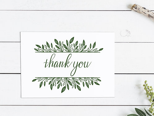 Thanksgiving Thank You Card - Green Leaves