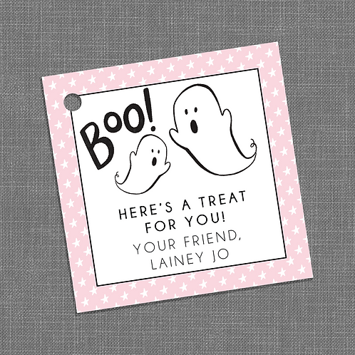 """""""Boo! Here's A Treat For You"""" Halloween Party Gift Tags"""