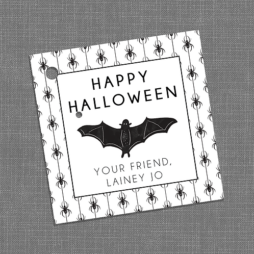 """""""Happy Halloween!"""" Spider and Bat Halloween Party Gift Tags"""
