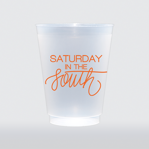 Saturday In The South - Orange   Set of 8 16 oz Frosted Shatt