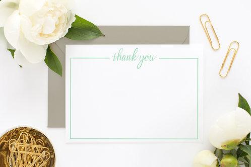 Letterpress Thank You Card Set | Mint Green Letterpress Card | Crane Paper Flat