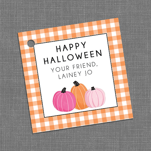 """""""Happy Halloween"""" Orange Gingham Party Gift Tags"""