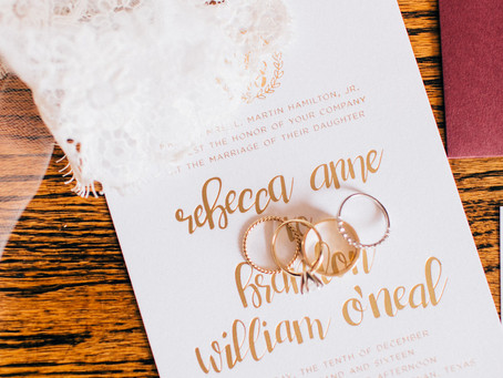 Downtown Bryan Wedding | Maroon and Gold Winter Wedding | Murphy's Law