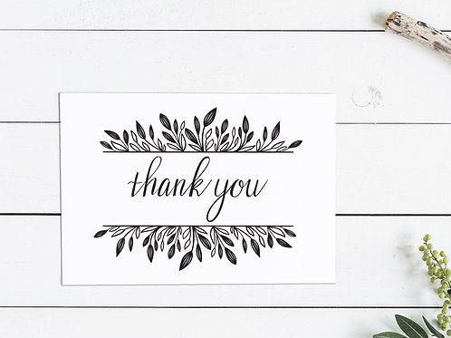 Thanksgiving Thank You Card - Black Leaves