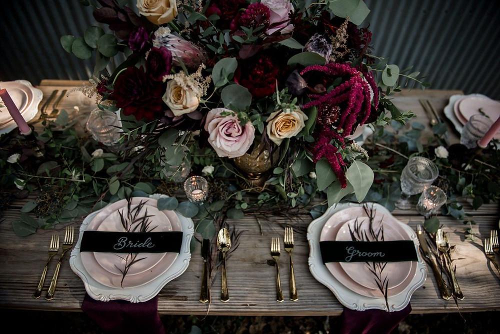 Wedding place cards on velvet ribbon. Photo: Jamie Hardin Photography