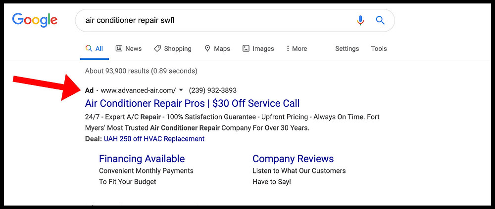 Google Search showing paid search marketing