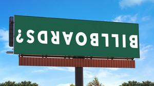 upside down billboard advertisement