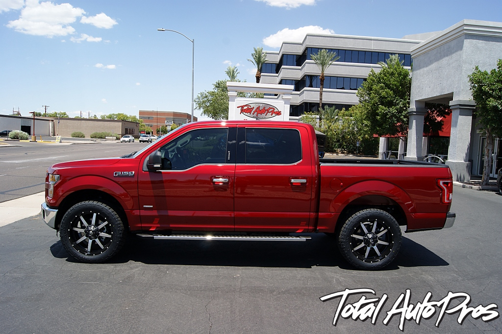 2016 Ford F150 Red Leveling Kit Toyo Tires Fuel Offroad Wheels Total Auto Pros (7)