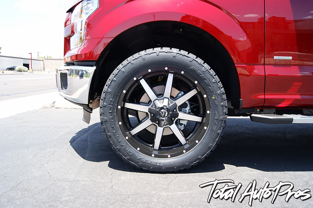 2016 Ford F150 Red Leveling Kit Toyo Tires Fuel Offroad Wheels Total Auto Pros (4)