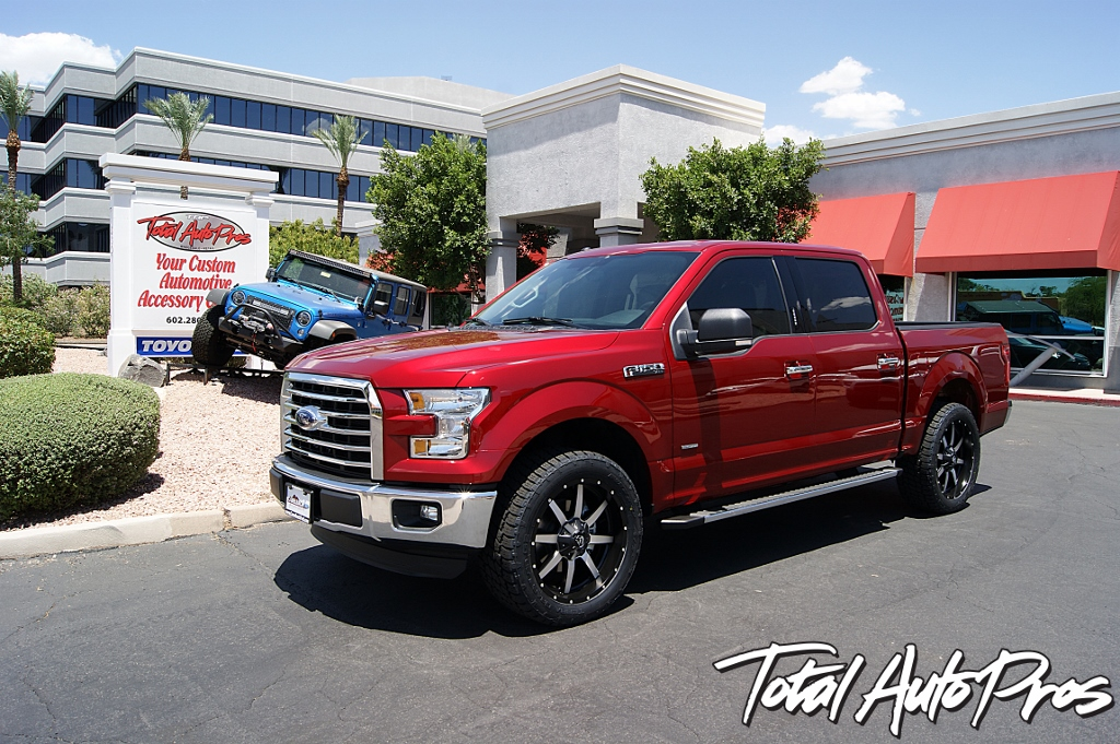 2016 Ford F150 Red Leveling Kit Toyo Tires Fuel Offroad Wheels Total Auto Pros (2)