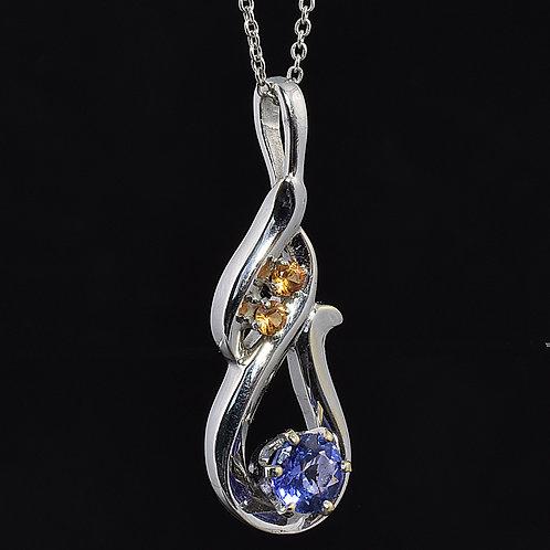 Freeform Tanzanite and Sapphire Pendant